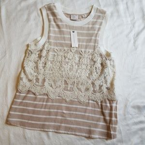 NWT Anthropologie || Cream Lace Top Size. Small